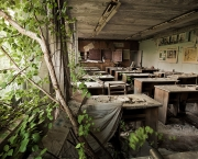 Trees grow in a Pripyat school abandoned 19 years earlier. Today, nature is slowly dismantling the city, thriving among the evacuated homes and buildings, and standing in stark contrast to the fear-plagued lives of the people who survived the world's worst nuclear disaster to date.